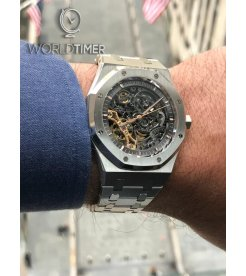 Audemars Piguet [2018 LIKE NEW] Royal Oak Double Balance Wheel Openworked 15407ST.OO.1220ST.01