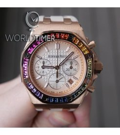 Audemars Piguet [NEW] Royal Oak OffShore Ladies Chronograph Pink Gold Rainbow Bezel 26236OR.YY.D085CA.01