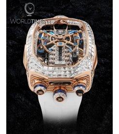 Jacob & Co. 捷克豹 [NEW MODEL] Bugatti Chiron Rose Gold Baguette White Diamonds Tourbillon