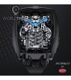 Jacob & Co. 捷克豹 [NEW] Bugatti Chiron 16 Cylinder Piston Engine Tourbillon BU200.20.AA.AC.A (Retail:HK$2,464,000)
