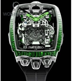 Jacob & Co. 捷克豹 [NEW MODEL] Bugatti Chiron 16 Cylinder Tourbillon Green Sapphire