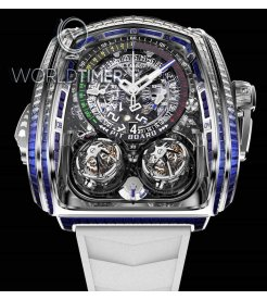 Jacob & Co. 捷克豹 [COMING SOON] Twin Turbo Furious Baguette in White Diamonds and Blue Sapphires