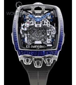 Jacob & Co. 捷克豹 [NEW MODEL] Bugatti Chiron Blue Diamonds 16 Cylinder Piston Engine Tourbillon