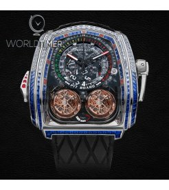 Jacob & Co. 捷克豹 [NEW] Twin Turbo Furious Baguette in White Diamonds and Blue Sapphires TT800.30.BB.UA.A (Retail: HK$13,000,000)