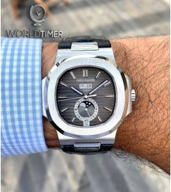 Patek Philippe [NEW] Nautilus 5726A Annual Calendar Moon Phase Black Dial Watch