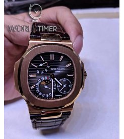 """Patek Philippe """"Tiffany & Co"""" [2014 USED] 5712R Nautilus Rose Gold Power Reserve Moonphase Watch"""