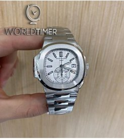 Patek Philippe [LIKE NEW] Nautilus Chronograph White Dial Steel 5980/1A