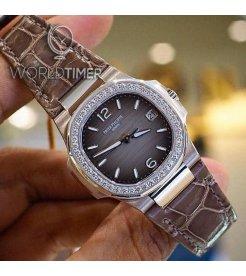 Patek Philippe [NEW] 7010G-012 Nautilus Ladies 32mm Slate Arabic Index Diamond Bezel Watch
