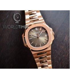 Patek Philippe [2019 NEW] Nautilus Chocolate Dial 5711/1R Full Rose Gold Mens Watch