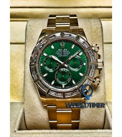 Rolex [NEW] Daytona Yellow Gold Green Dial Baguette Diamond Bezel 116568BR