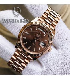 Rolex [NEW] Day-Date Rose Gold 228235A Chocolate Diamond Dial & Fluted Bezel President Bracelet