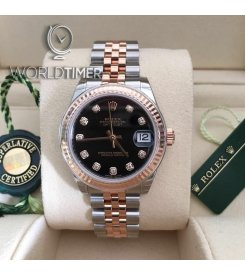 Rolex [NEW] Datejust 31mm Stainless Steel and Rose Gold Ladies 178271G Black