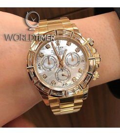 Rolex [NEW] Daytona Beguette Diamond MOP Dial 116568BR Yellow Gold Watch