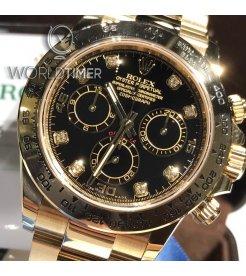 Rolex [NEW] Cosmograph Daytona Black Dial Yellow Gold Diamond 116508G