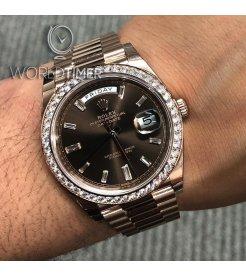 Rolex [NEW] Day-Date 40mm Rose Gold 228345RBR Chocolate Diamond Dial & Diamond Bezel President Bracelet (Retail:HK$430,600)