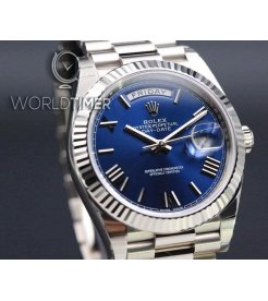 Rolex [NEW] Day-Date 40mm White Gold 228239 Blue Roman