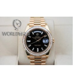 Rolex [NEW] Day-Date YG Black Diagonal Motif Index Dial & Diamond Bezel 228398TBR