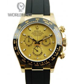Rolex [NEW] Daytona Black Rubber Yellow Gold Champagne Dial 116518LN