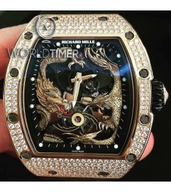 Richard Mille [2016 USED] RM 57-01 Phoenix and Dragon Jackie Chan Rose Gold Full Set Diamonds Watch
