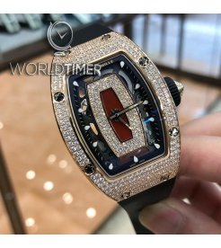 RICHARD MILLE [NEW] RM 07-01 LADIES AUTO FULL ROSE GOLD DIAMONDS