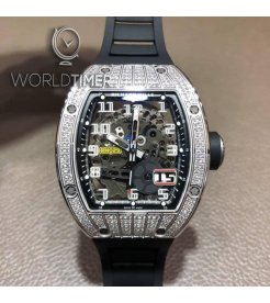 Richard Mille [NEW] RM 029 White Gold Med Set Diamond Titanium Big Date Mens Watch