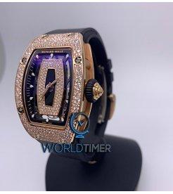 Richard Mille [NEW] RM 07-01 Rose Gold Diamonds Black Lip Automatic Ladies Watch