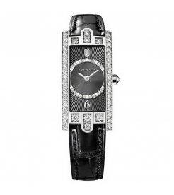 Harry Winston [NEW] Avenue C Art Deco quartz 18K white gold timepiece black dark partially AVCQHM19WW130