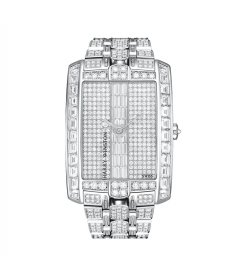 Harry Winston [NEW] Avenue C Large quartz 18K white gold on gold bracelet set with baguettes AVCQHM35WW002