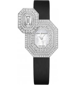 Harry Winston [NEW] Emerald Signature quartz 18K white gold timepiece, unique setting HJTQHM24WW005