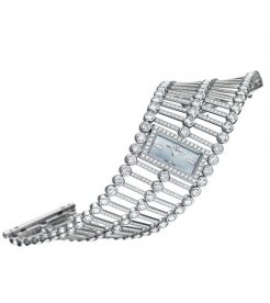 Harry Winston [NEW] Lace quartz 18K white gold timepiece on gold bracelet unique setting white light mother of pearl indexes HJTQHM24WW004