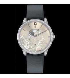 Harry Winston [NEW] Midnight Moon Phase quartz 18K white gold timepiece white light indexes MIDQMP39WW001