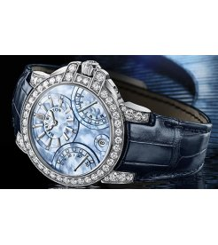 Harry Winston [NEW] Ocean Biretrograde 36mm automatic 18K white gold blue mother of pearl indexes OCEABI36WW049