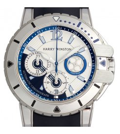 Harry Winston [NEW] Ocean Diver automatic 18K white gold and zalium timepiece white light dial OCEACH44WZ006