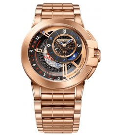 Harry Winston [NEW] Ocean Dual Time 44mm automatic 18K rose gold timepiece black dark dial OCEATZ44RR013