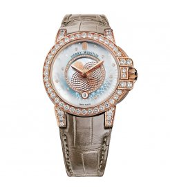 Harry Winston [NEW] Ocean Moon Phase 36mm quartz 18K rose gold timepiece blue mother of pearl partially set OCEQMP36RR029