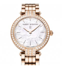 Harry Winston [NEW] Premier 31mm quartz 18K rose gold timepiece on gold bracelet white light mother of pearl indexes set dial PRNQHM31RR003