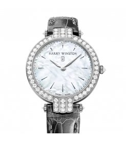 Harry Winston [NEW] Premier 36mm quartz 18K white gold timepiece white light mother of pearl partially set dial PRNQHM36WW016