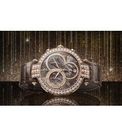 Harry Winston [NEW] Premier chronograph 40mm quartz 18K rose gold brown mother of pearl partially PRNQCH40RR002