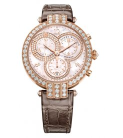 Harry Winston [NEW] Premier chronograph 40mm quartz 18K rose gold timepiece white light mother of pearl partially PRNQCH40RR001