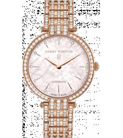 Harry Winston [NEW] Premier Ladies 36mm automatic 18K rose gold timepiece on gold bracelet fully PRNAHM36RR003