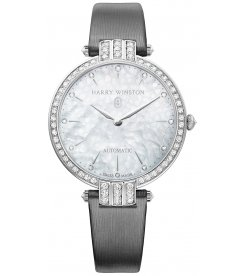 Harry Winston [NEW] Premier Ladies 36mm automatic 18K white gold timepiece white light mother of pearl indexes PRNAHM36WW001