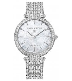 Harry Winston [NEW] Premier Ladies 36mm automatic 18K white gold white light mother of pearl indexes PRNAHM36WW003