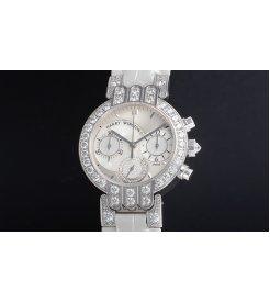 Harry Winston [NEW] Premier Midsize Chronograph quartz 18K white gold black dark mother of pearl partially PREQCH32WW133 (Retail:US53,400)