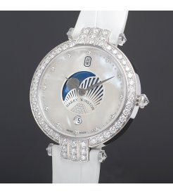 Harry Winston [NEW] Premier Moon Phase 36mm quartz 18K white gold timepiece white light mother of pearl partially set dial PRNQMP36WW001