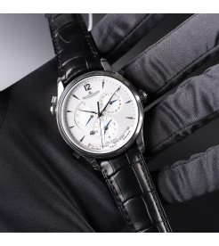 Jaeger-Lecoultre [NEW] Master Geographic Silver Dial Black Leather Mens Q1428421 (Retail:HK$87,000)