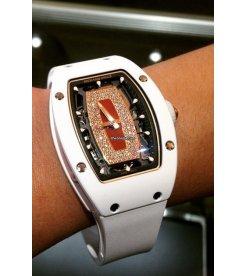 Richard Mille [NEW & RARE] Ladies RM 007 White Ceramic Red Lip RM7 Watch