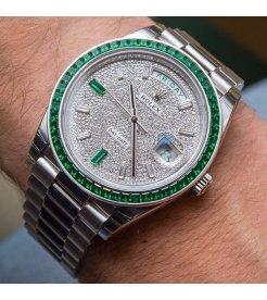 Rolex [NEW][RARE] 228396TEM Day-Date 40mm Platinum Green Emerald (Retail:EUR 430.000)